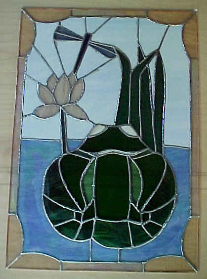 Natural Elements Stained Glass Frog Panel